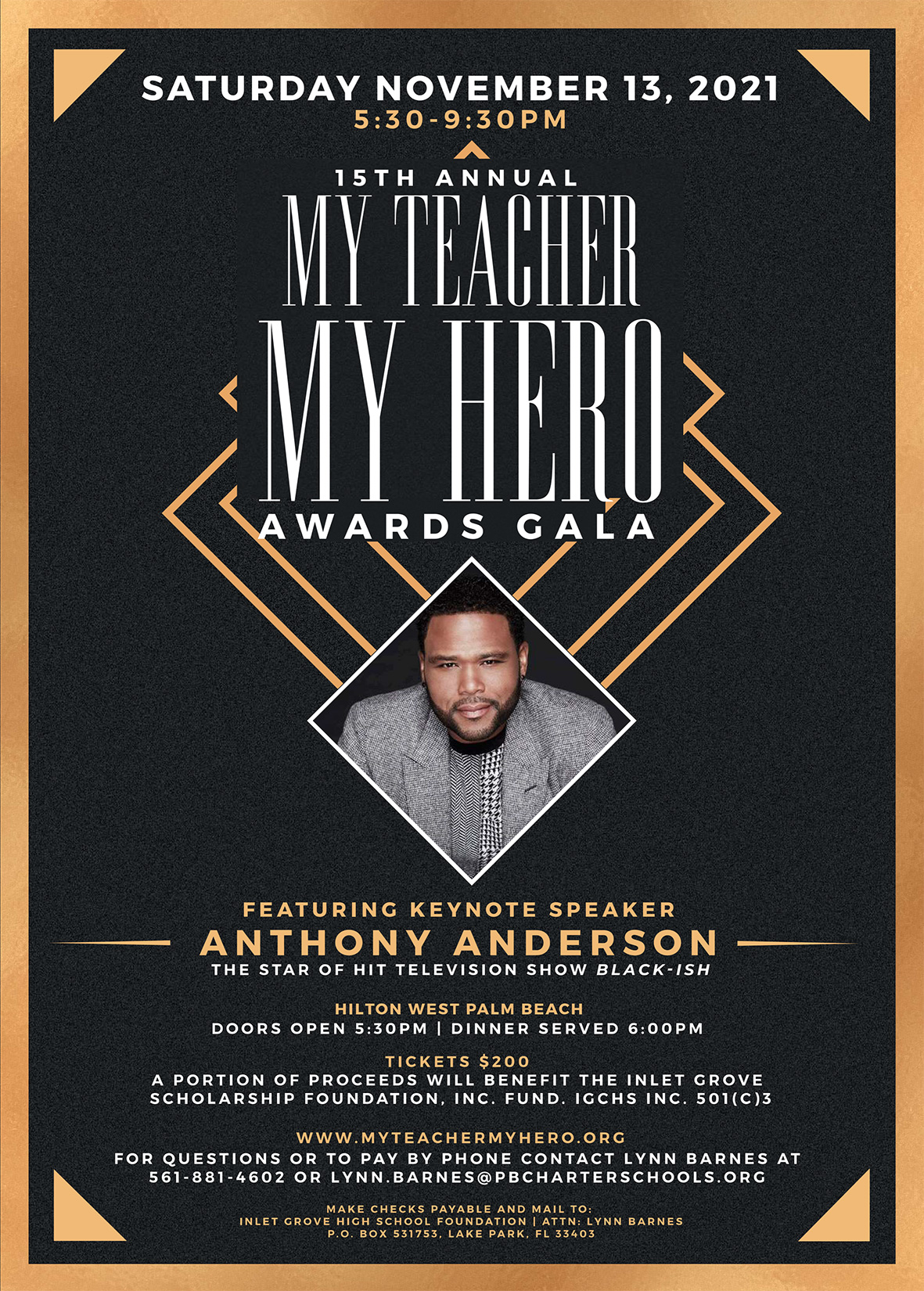 My Teacher My Hero Awards Banner Guest Anthony Anderson Nov 13, 2021